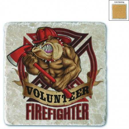 Fire Fighter Volunteer Dog Stone Coaster