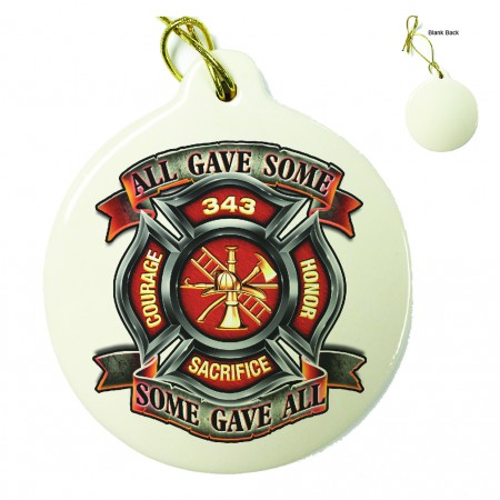 Fire Honor Courage Sacrifice 343 Badge Porcelain Ornament