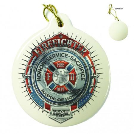 Firefighter Honor Service Sacrifice Chrome Badge Porcelain Ornament