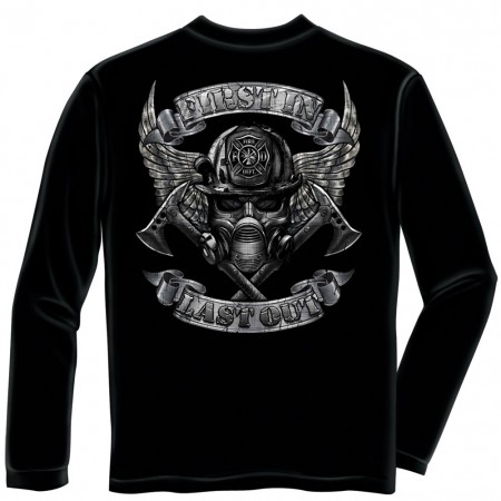 Firefighter First In Last Out Foil Black Long Sleeve T-Shirt