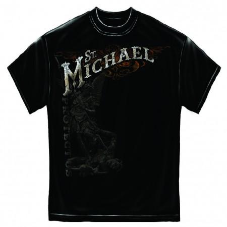 Firefighter St. Michael Protect Us Foil Black T-Shirt