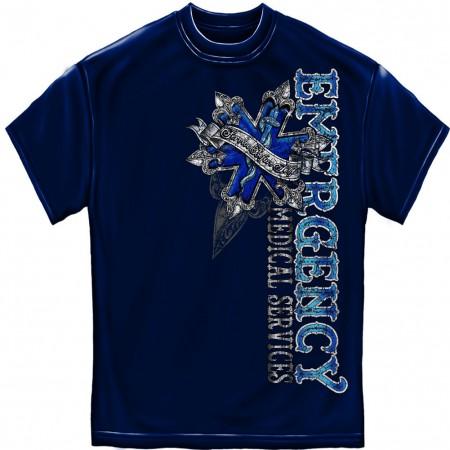 EMS Service Before Self Blue Foil T-Shirt