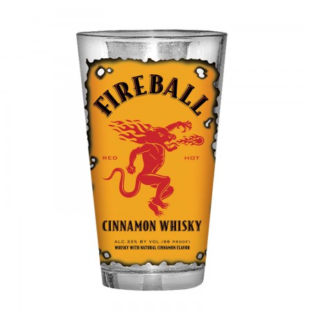 Fireball Whisky Burnt Label Pint Glass