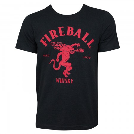 Fireball Whisky Large Dragon Logo Black Tee Shirt