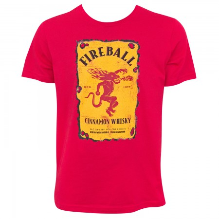 Fireball Whisky Bottle Label Logo Red Tee Shirt