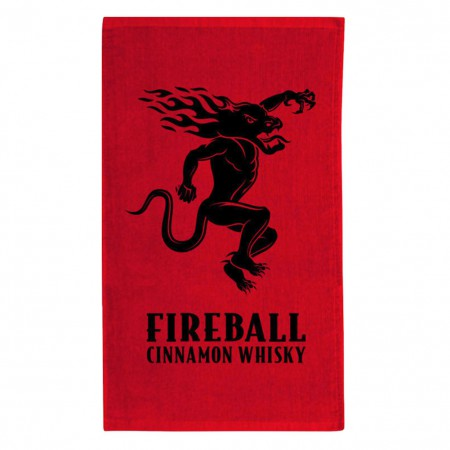 Fireball Whisky Logo Red Beach Towel