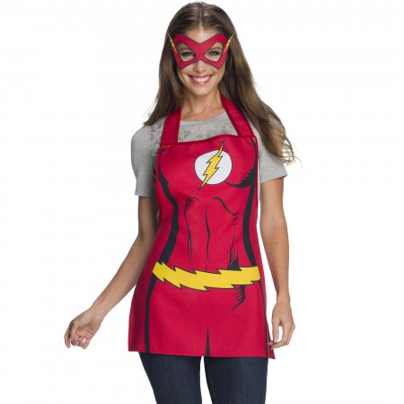 Flash Mask And Red Suit Adult Apron