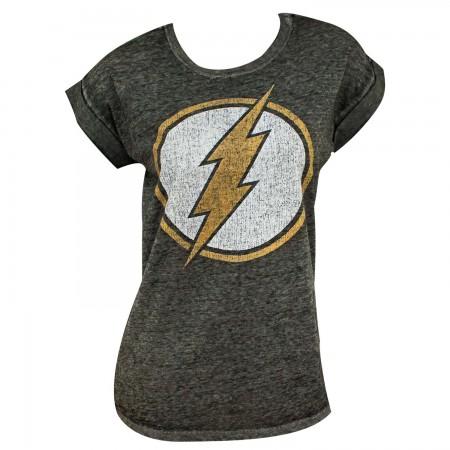The Flash Logo Women's Rolled Sleeves Tshirt