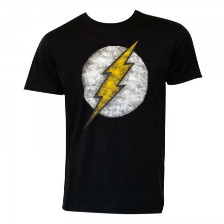 The Flash Men's Black Distressed Logo T-Shirt