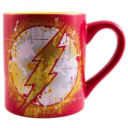 The Flash Paint Splatter 14oz Red Coffee Mug