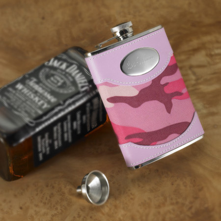 Personalized 8 Ounce Pink Camo Custom Flask