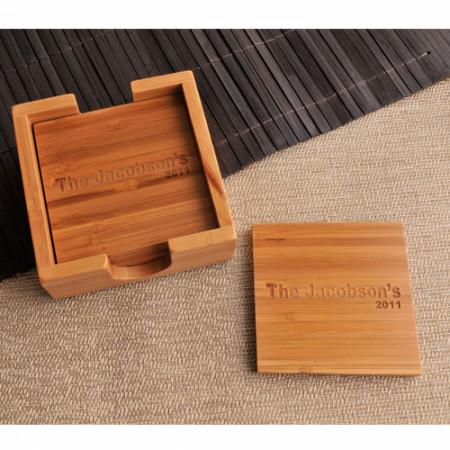 Personalized Bamboo Custom Coaster Set