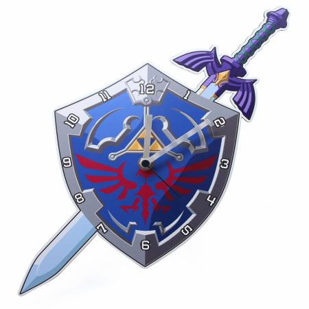 Nintendo Legend of Zelda Link's Shield and Sword Wall Clock