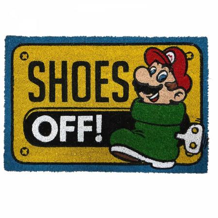 "Nintendo Super Mario Shoes Off! 17""x 29"" Doormat with Non-skid Back"
