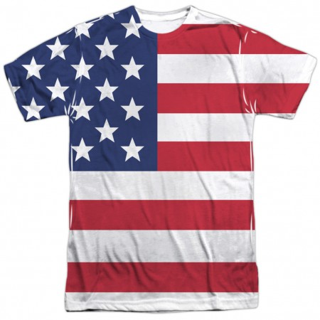 American Flag Patriotic Front and Back Print Men's T-Shirt