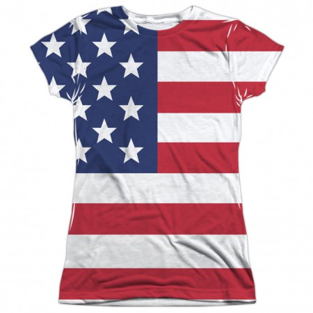 American Flag Patriotic Front and Back Print Women's Tshirt