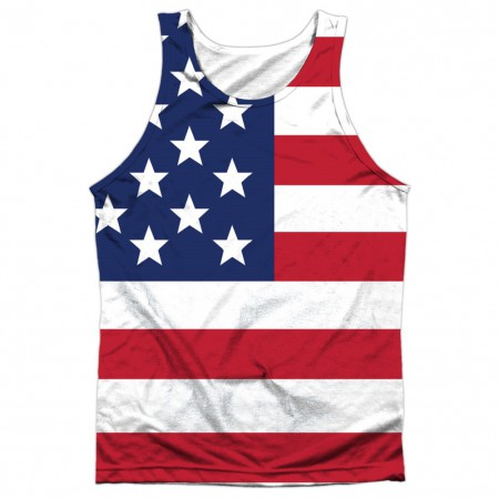 American Flag Patriotic Front and Back Print Tank Top