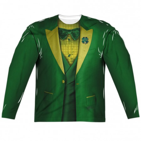 St Patrick's Leprechaun Irish Suit Green Long Sleeve Men's Costume Shirt