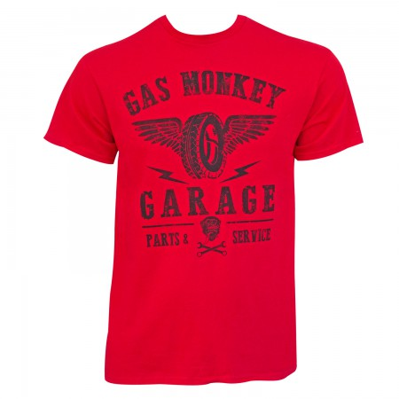 Gas Monkey Garage Men's Red Wings Logo T-Shirt