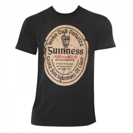 Guinness Men's Black Distressed Gaelic Label T-Shirt