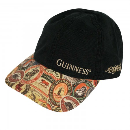 Guinness Black Adjustable Vintage Label Washed Hat