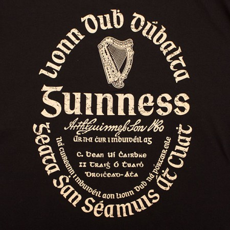Guinness Irish Gaelic Label Shirt - Black