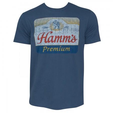 Hamm's Premium Men's Blue Distressed Logo T-Shirt