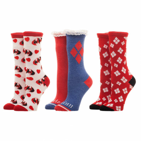 Harley Quinn Red White Blue 3 Pack Women's Crew Socks