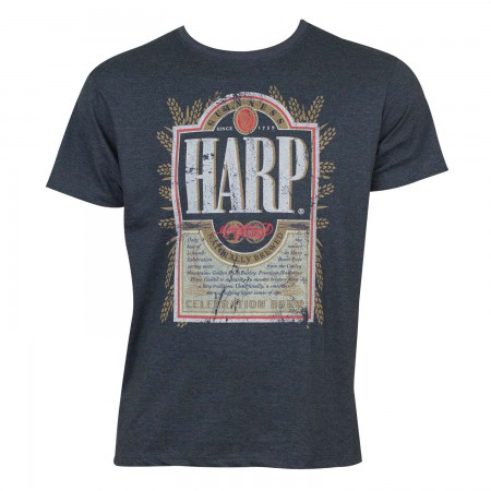 Harp Men's Heather Blue Distressed Label T-Shirt