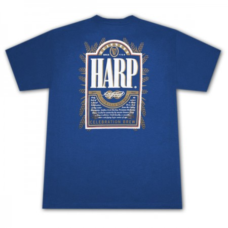 Harp Lager Guinness Men's 2-Sided Blue Graphic T-Shirt