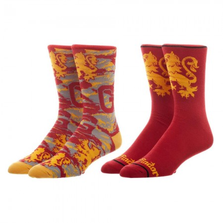 Harry Potter Gryffindor Men's Crew Sock Set Of 2 Pairs