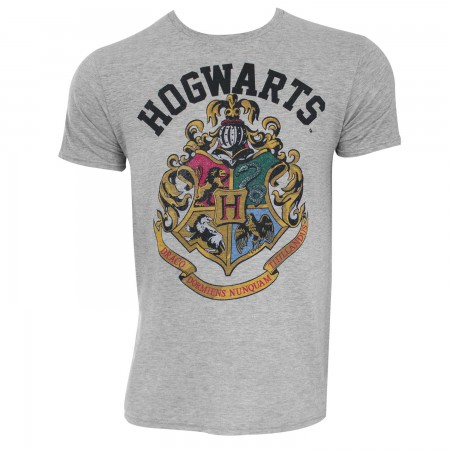 Harry Potter Men's Grey Hogwarts Crest T-Shirt