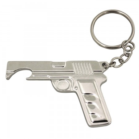 Pistol Shaped Metal Bottle Opening Keychain