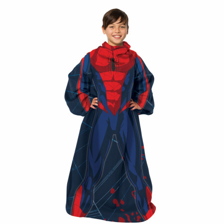 Spider-Man Costume Throw Youth Blanket With Sleeves