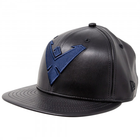 Nightwing Symbol Black Faux Leather New Era 59Fifty Fitted Hat