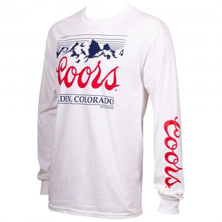 Coors Mountain Logo Sleeve Print Men's White Long Sleeve Shirt
