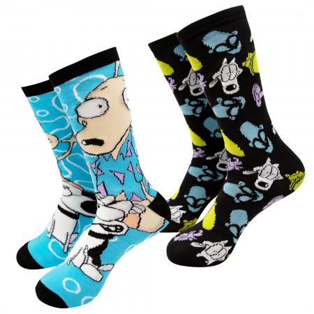 Rocko's Modern Life Black And Blue 2-Pack Crew Socks