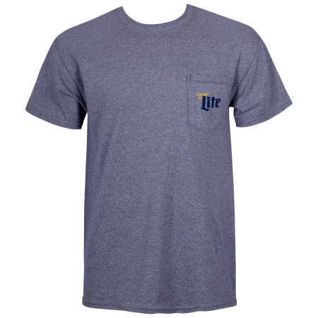 Miller Lite Grey Pocket Tee Shirt