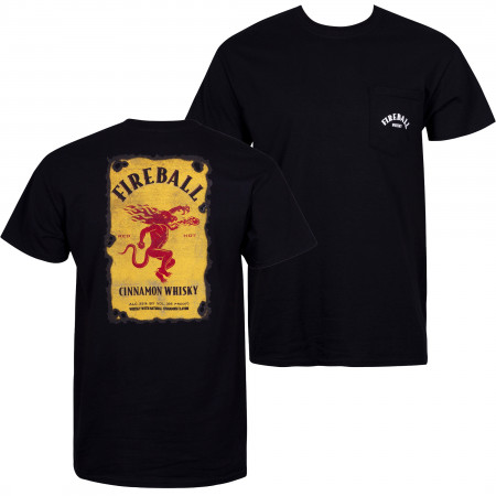 Fireball Men's Black Pocket T-Shirt