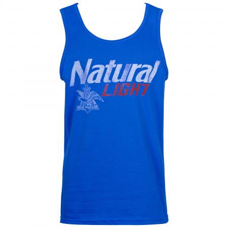 Natural Light Men's Blue Distressed Logo Tank Top