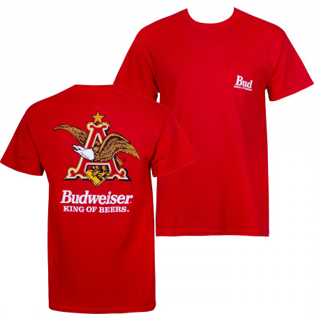 Budweiser Vintage Logo Red Pocket Tee Shirt