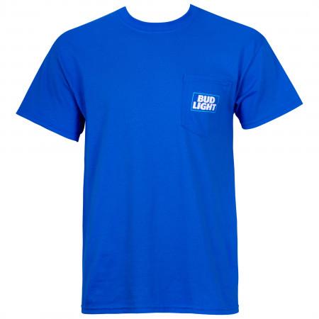Bud Light Modern Logo Blue Pocket Tee Shirt