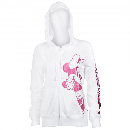 Minnie Mouse Women's White Pink Foil Hoodie