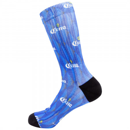 Corona All Over Crown Logo Blue Crew Socks