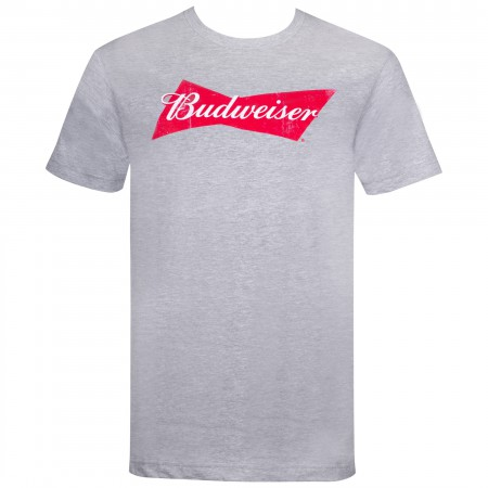 Budweiser Beer Classic Bow Tie Logo Men's Grey T-Shirt