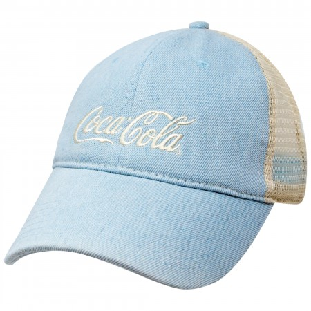 Coca-Cola Distressed Baby Blue Mesh Trucker Hat