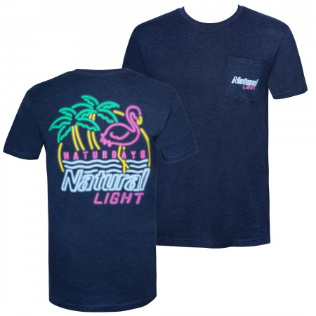 Natural Light Men's Navy Blue Neon Sign Naturdays T-Shirt