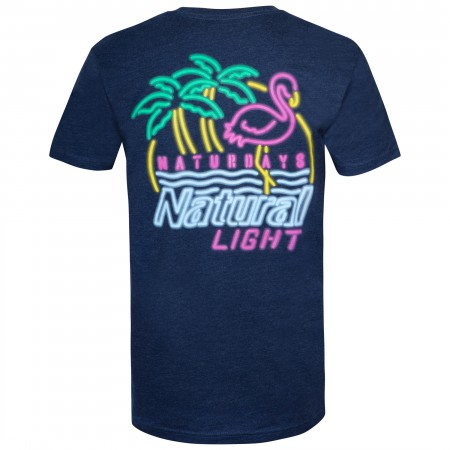 Natural Light Naturdays Neon Sign Navy Blue Tee Shirt