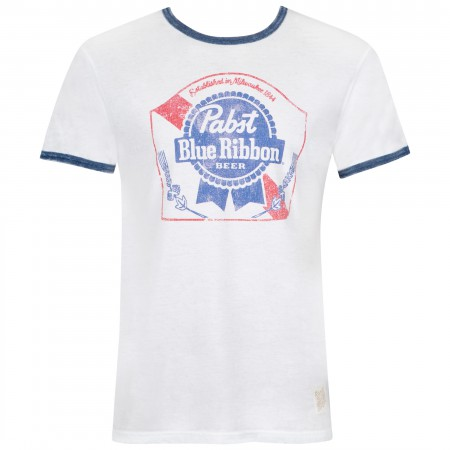 Pabst Blue Ribbon Men's White Navy Ringer T-Shirt