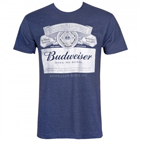 Budweiser Men's Midnight Navy Beer Label T-Shirt